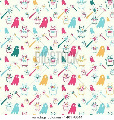 Vector hand drawn cartoon seamless pattern with magic wands monsters ghost. Fantasy magic theme. Colored magic pattern for paper textile polygraphy game web design