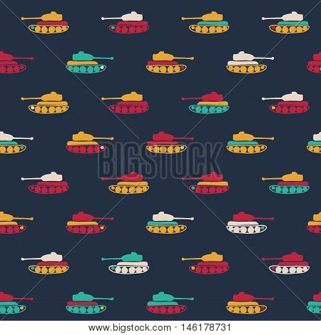 Vector hand drawn cartoon seamless pattern with tanks. Military theme. Colored tank pattern for textile paper polygraphy game cards banner web design.