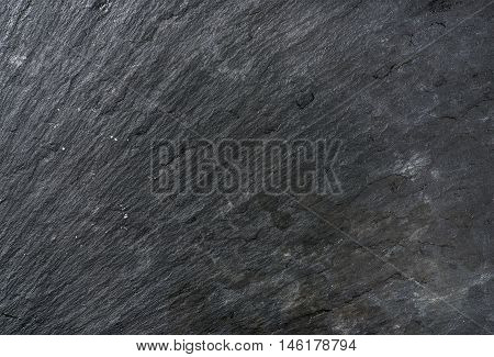 Old black slate stone texture, background and wallpaper