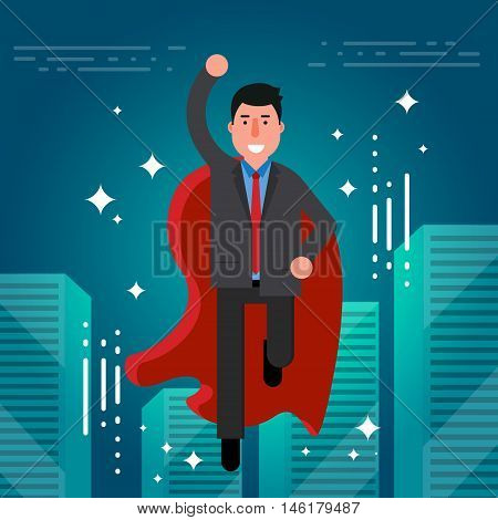 Successful businessman or broker in suit and red cape flying on city skyline background. Vector illustration of superhero as concept of business success. Leadership symbol