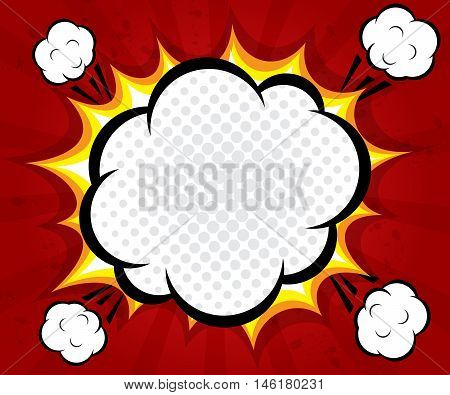 abstract boom blank speech bubble pop art comic book on red background vector illustration