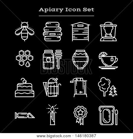 Set of white outline apiary icons, vector illustration isolated on black background. Set of bee and honey icons, apiary symbols - beehive, beekeeper, jar, deeper, smoker, honeycomb, extractor