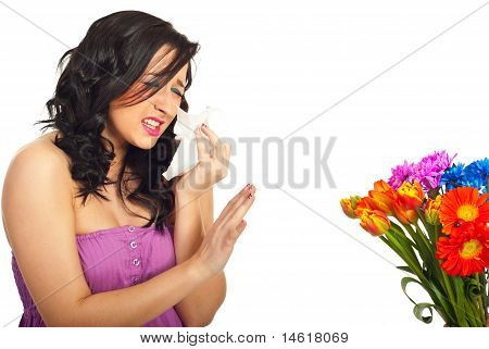 Woman Having Spring Flowers Allergy