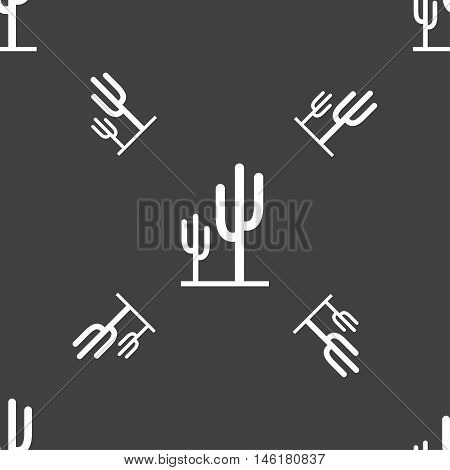 Cactus Icon Sign. Seamless Pattern On A Gray Background. Vector