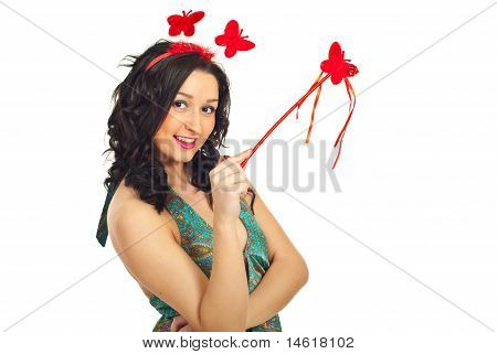 Smiling Girl With Butterfly Wand