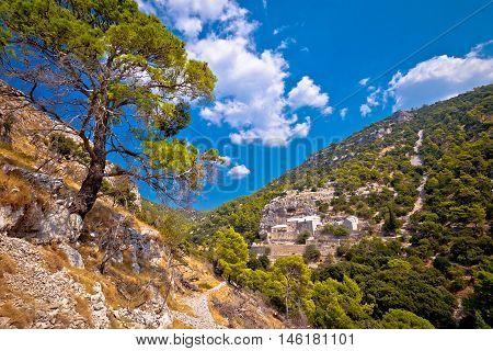Pustinja Blaca canyon hermitage on Brac island Dalmatia Croatia