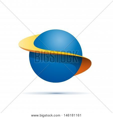 Vector sign abstract shape of sphere with orbits