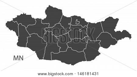 Mongolia grey map with regions isolated vector high res