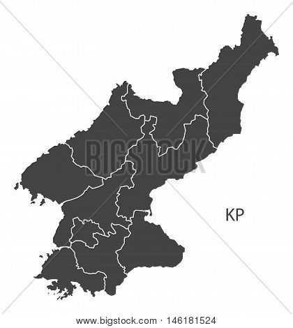 North Korea grey map with regions isolated vector high res