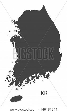 South Korea grey map isolated vector high res