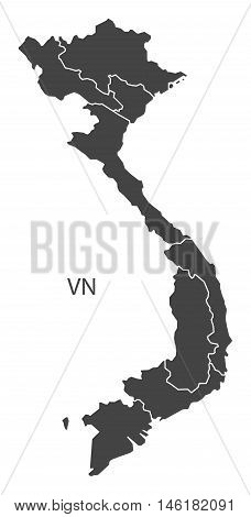Vietnam grey map with regions isolated vector high res
