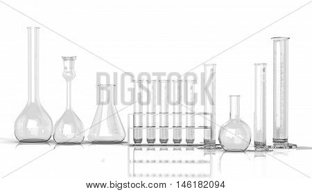 3D render illustration. empty laboratory glassware on white background