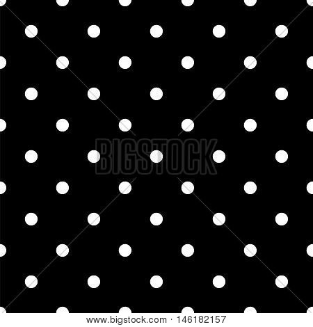 Vintage Black Seamless Pattern with White Polka Dots. Vector illustration vintage and retro style texture.