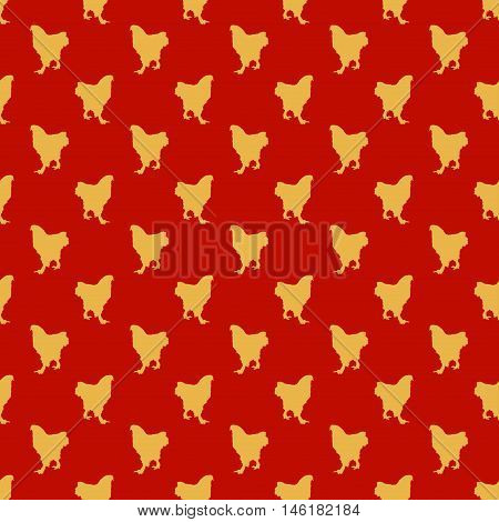 Red Seamless Pattern with Yellow Roosters (Chinese New Year Theme). Vector illustration nature and holiday themed texture.