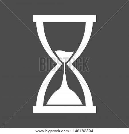 Simple white hourglass (sandglass) icon isolated on dark grey background. Vector illustration. The hour-glass icon is designed in simple modern flat style.