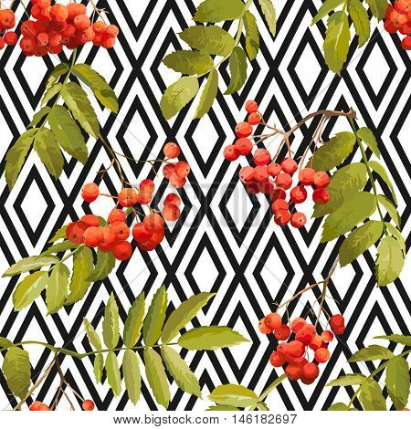 Autumn Rowan Berry Background - Geometric Vintage Seamless Pattern - for design, textile, print - in vector