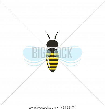 Bee flying vector icon isolated on white background, flat cartoon honeybee