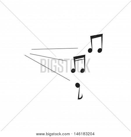 Loud music notes sound vector illustration isolated on white, flat simple melody notes symbol