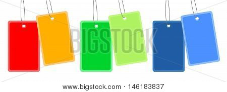 Collection: Tags on the String. Isolated vector illustration bussines or holiday theme. Three color variants of tags to choose.