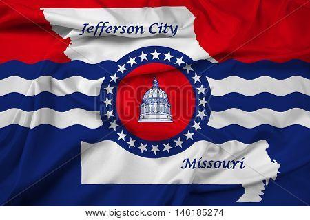 Waving Flag Of Jefferson City, Missouri, Usa