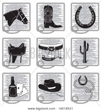 Cowboy Life Elements .vector Black Silhouettes Symbols On White