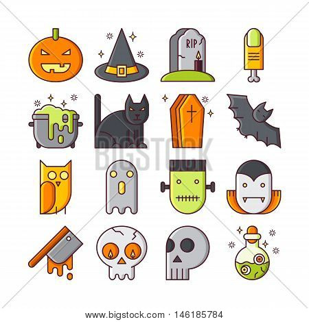 Vector line icons with halloween symbols and objects. Trick or treat line icons of pumpkin skull vampire bat coffin and other.