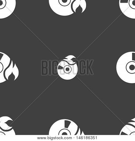 Cd Icon Sign. Seamless Pattern On A Gray Background. Vector