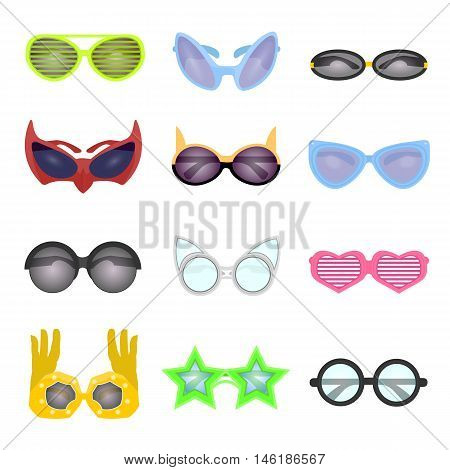 Set of fashion glasses. Collection vector sunglasses. Modern and retro style, shutter glasses for a masquerade party and photo shoots. Cartoon illustration isolated on white background