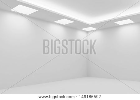 Abstract architecture white room interior - corner of empty white room with white wall white floor white ceiling with square ceiling lamps and hidden ceiling lights 3d illustration