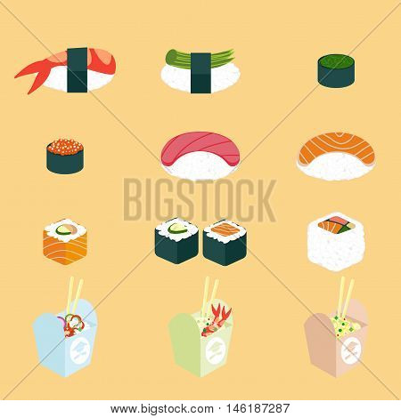 Vector set of Panasian food. Chinese and japanese cuisine: wok noodle in boxes with chopsticks, rolls and sushi sets. Flat isolated icons of restaurant and fast food.