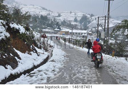 SAPA, VIETNAM, February 21, 2016 snowfall, highland Sapa, Vietnam