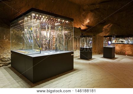 KRAKOW, POLAND - APRIL 04, 2015: Museum of mining in Wieliczka salt mine near Krakow in Poland on April 04, 2015.