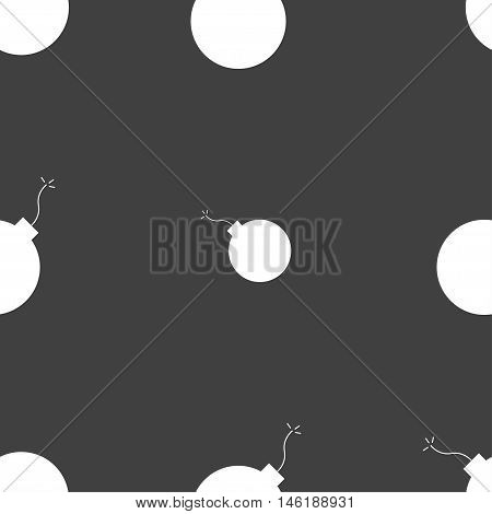 Bomb Icon Sign. Seamless Pattern On A Gray Background. Vector