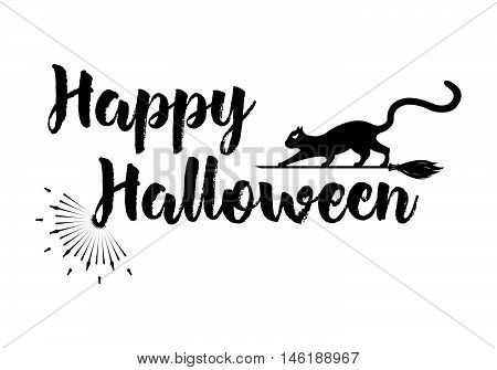 Halloween Greeting Card Calligraphy With Sunrays. Sunburst Happy Halloween Banner Or Poster. Vector