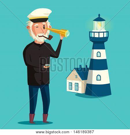 Sailor man character. Vector cartoon illustration. Old captain. Happy seaman. Vintage style