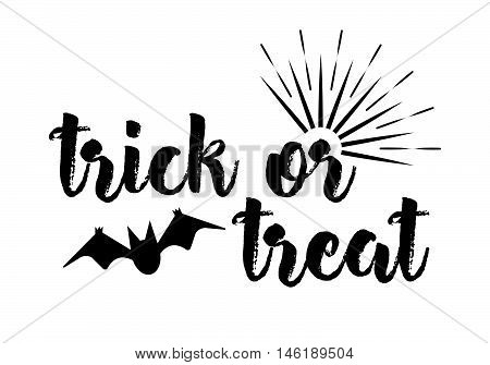 Trick Or Treat Greeting Card Calligraphy With Sunrays. Sunburst Happy Halloween Banner Or Poster. Ve