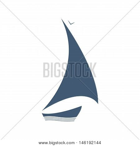 Sailing logo. Vector ship on the waves