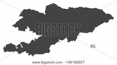 Kyrgyzstan grey map isolated vector high res