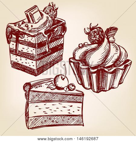 cakes fast food set hand drawn vector llustration realistic sketch