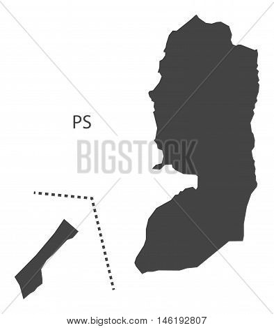 Palestine grey map isolated vector high res