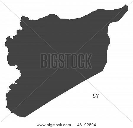 Syria grey map isolated vector high res