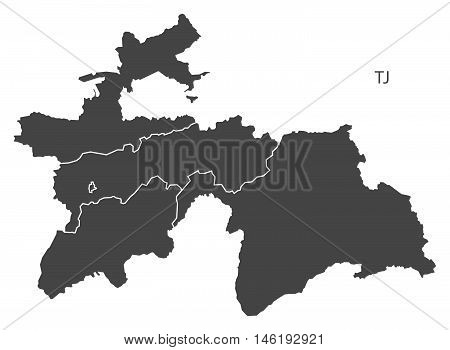 Tajikistan grey map with regions isolated vector high res