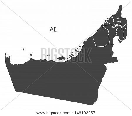 United Arab Emirates grey map with regions isolated vector high res