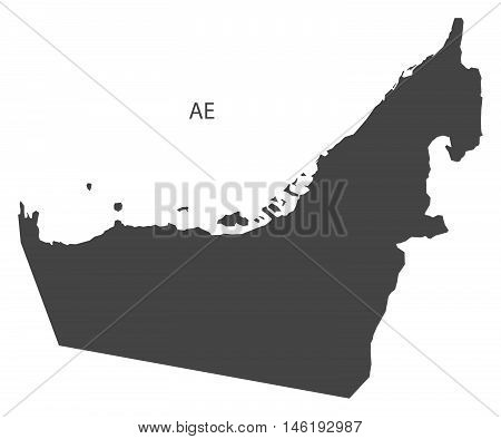 United Arab Emirates grey map isolated vector high res