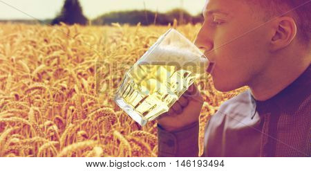 people, drinks and alcohol concept - close up of young man drinking beer from glass mug over cereal field background