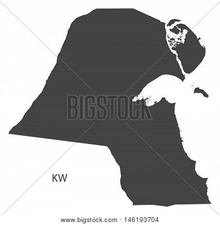 Kuwait grey map isolated vector high res