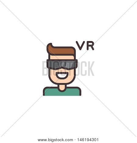Icon of young man wearing virtual reality glasses helmet
