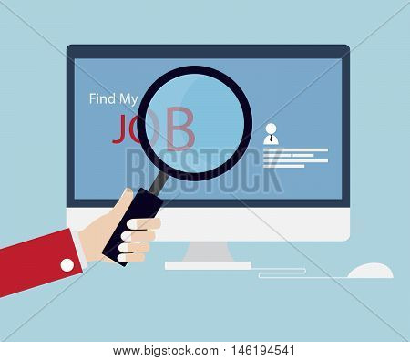 Job Searching Job Seeking with Magnifying Glass Online Concept Vector Illustration