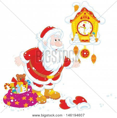 Vector illustration of Father Christmas winding up an old wall cuckoo clock