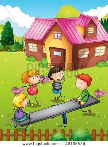 Children playing with seesaw in backyard illustration